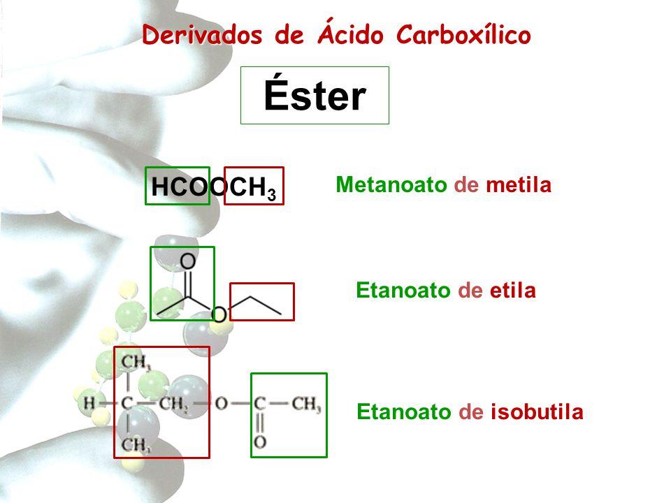 Derivados de Carboxílico Derivados de Ácido Carboxílico Etanoato de etila Etanoato de isobutila Éster HCOOCH 3 Metanoato de metila