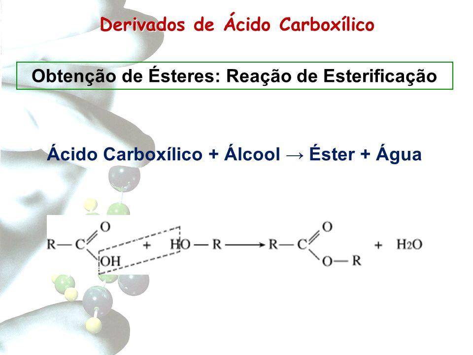 Derivados de Carboxílico Derivados de Ácido Carboxílico Obtenção de Ésteres: Reação de Esterificação Ácido Carboxílico + Álcool → Éster + Água