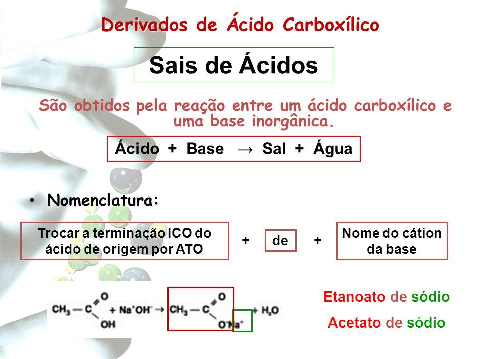 Derivados de Carboxílico Derivados de Ácido Carboxílico São obtidos pela reação entre um ácido carboxílico e uma base inorgânica. Nomenclatura: Trocar