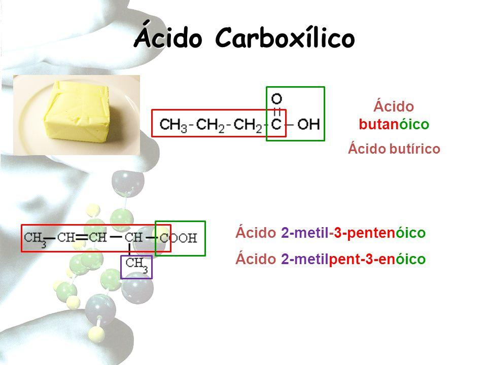 Ácido Carboxílico Ionização: R-COOH + H 2 O → R-COO - + H 3 O +, ou R-COOH → R-COO - + H + – Nomenclatura dos Ânions: ICO → ATO Grupos Acila: derivados dos ácidos carboxílicos pela retirada do grupo –OH – Nomenclatura: ICO → IL(A) ácido benzóico benzoilaácido metanóico metanoila