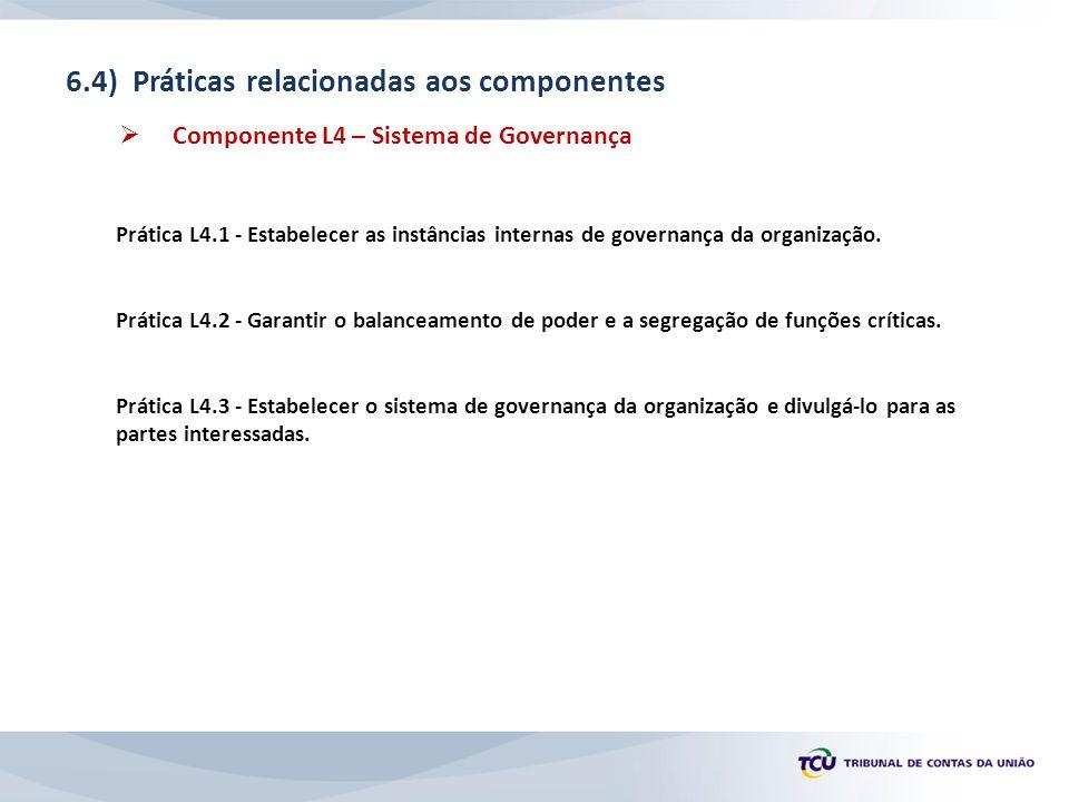 6.4) Práticas relacionadas aos componentes  Componente L4 – Sistema de Governança Prática L4.1 - Estabelecer as instâncias internas de governança da organização.