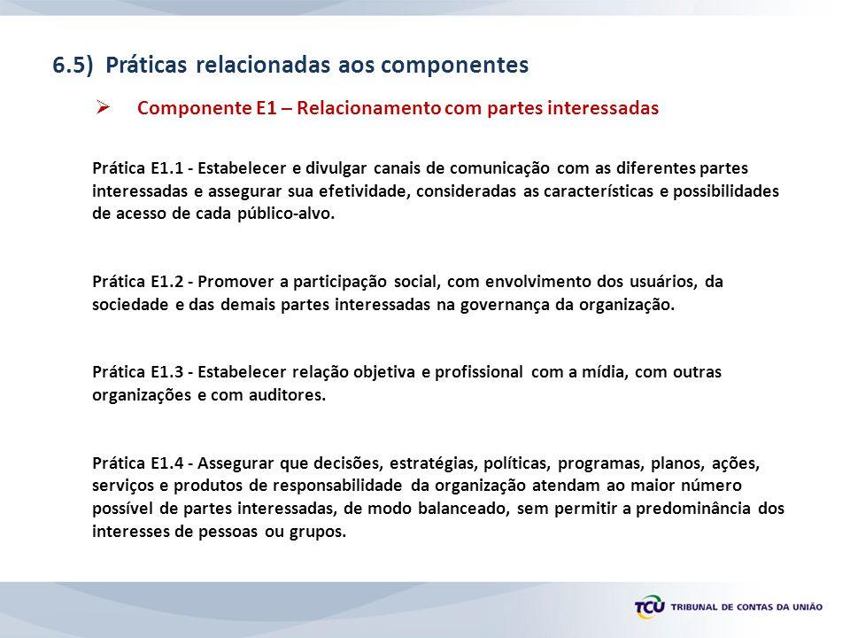 6.5) Práticas relacionadas aos componentes  Componente E1 – Relacionamento com partes interessadas Prática E1.1 - Estabelecer e divulgar canais de comunicação com as diferentes partes interessadas e assegurar sua efetividade, consideradas as características e possibilidades de acesso de cada público-alvo.