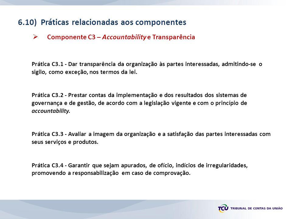 6.10) Práticas relacionadas aos componentes  Componente C3 – Accountability e Transparência Prática C3.1 - Dar transparência da organização às partes interessadas, admitindo-se o sigilo, como exceção, nos termos da lei.