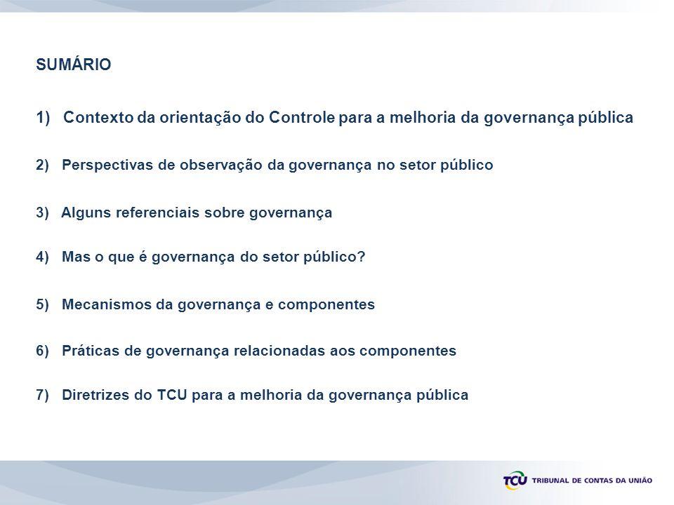 1) Contexto da orientação do Controle para a melhoria da governança pública 2) Perspectivas de observação da governança no setor público 3) Alguns referenciais sobre governança 4) Mas o que é governança do setor público.