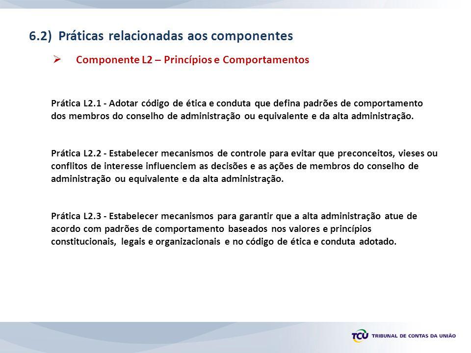 6.2) Práticas relacionadas aos componentes  Componente L2 – Princípios e Comportamentos Prática L2.1 - Adotar código de ética e conduta que defina padrões de comportamento dos membros do conselho de administração ou equivalente e da alta administração.