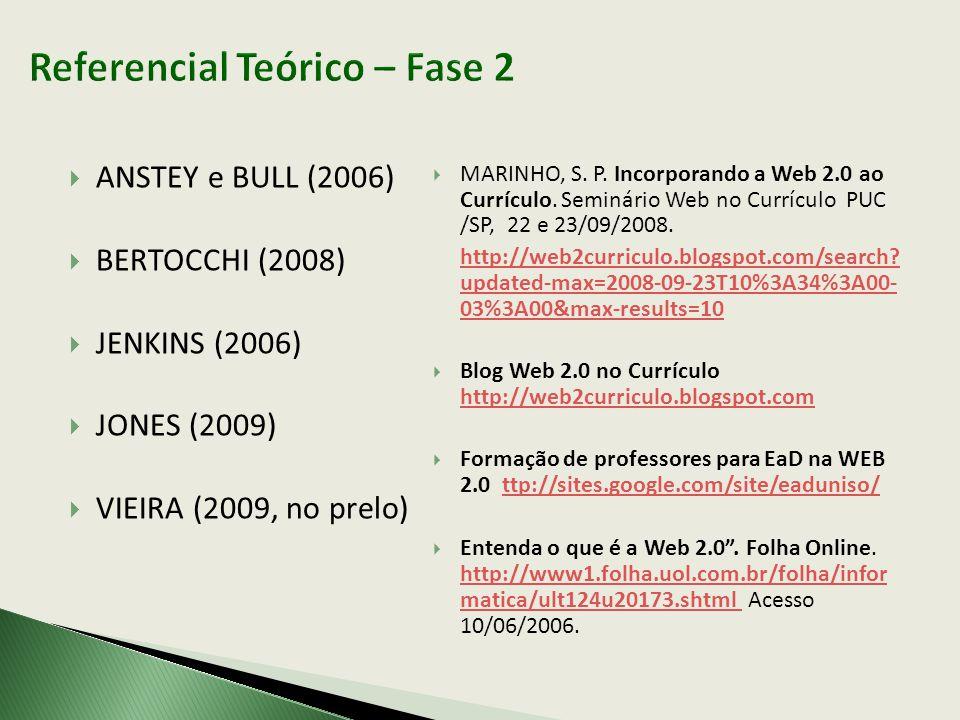  ANSTEY e BULL (2006)  BERTOCCHI (2008)  JENKINS (2006)  JONES (2009)  VIEIRA (2009, no prelo)  MARINHO, S. P. Incorporando a Web 2.0 ao Currícu
