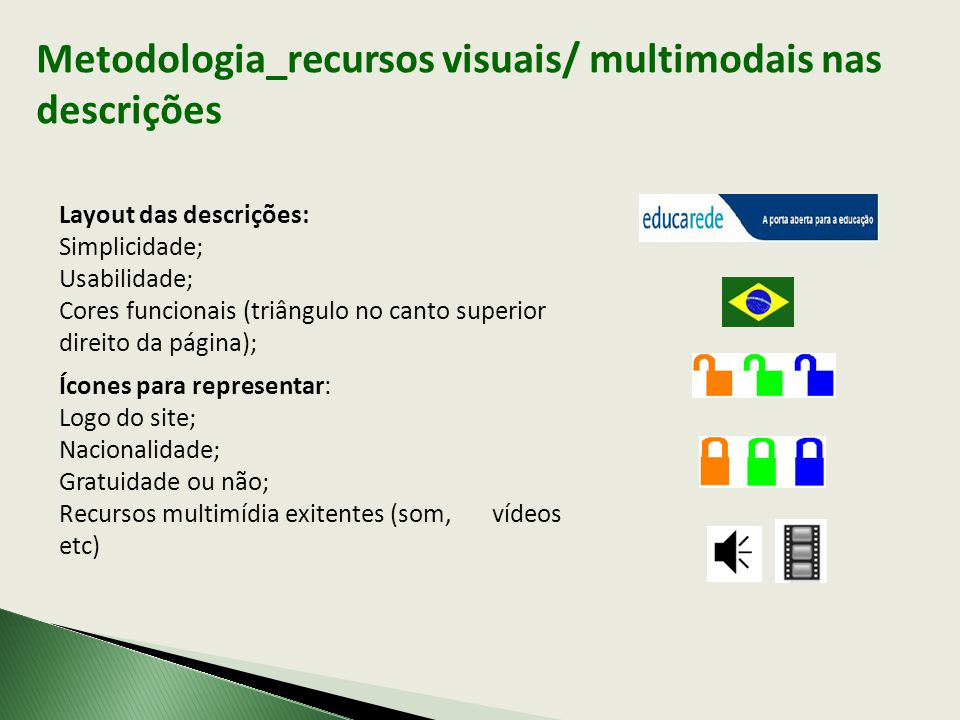 Metodologia_recursos visuais/ multimodais nas descrições Layout das descrições: Simplicidade; Usabilidade; Cores funcionais (triângulo no canto superior direito da página); Ícones para representar: Logo do site; Nacionalidade; Gratuidade ou não; Recursos multimídia exitentes (som, vídeos etc)
