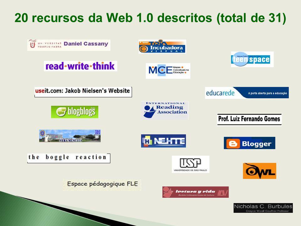 20 recursos da Web 1.0 descritos (total de 31)
