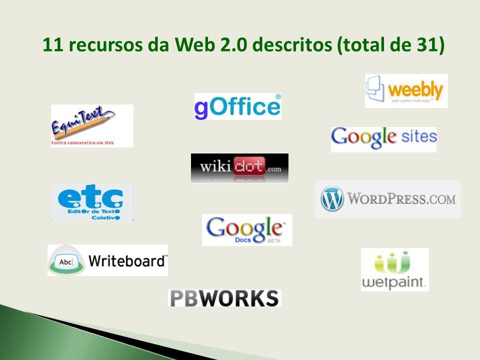 11 recursos da Web 2.0 descritos (total de 31)