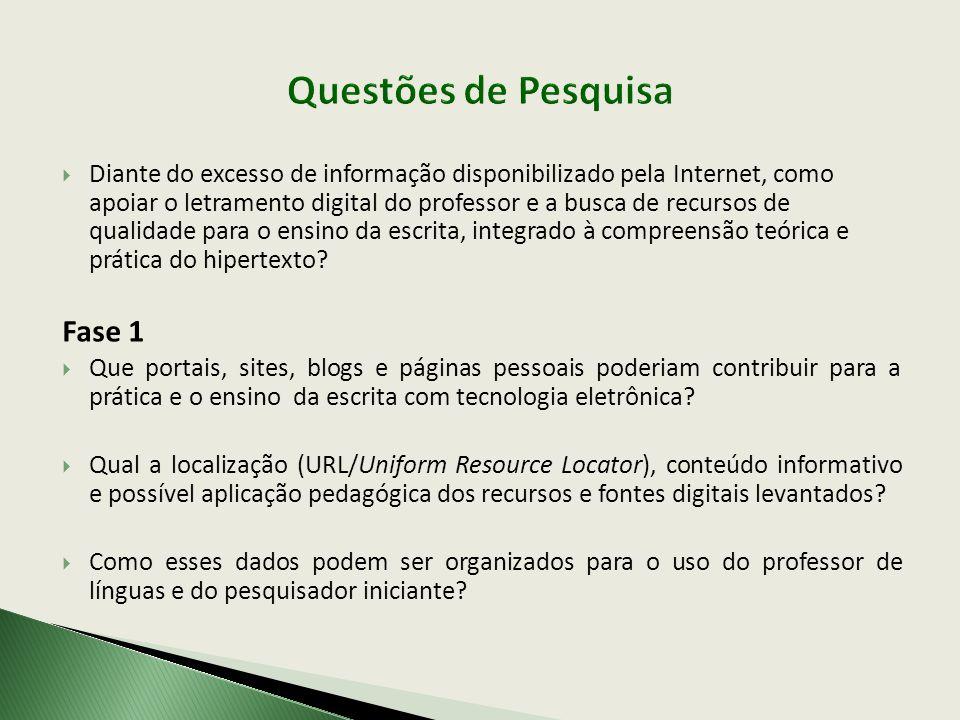  Diante do excesso de informação disponibilizado pela Internet, como apoiar o letramento digital do professor e a busca de recursos de qualidade para