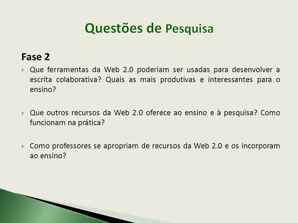 Fase 2  Que ferramentas da Web 2.0 poderiam ser usadas para desenvolver a escrita colaborativa? Quais as mais produtivas e interessantes para o ensin