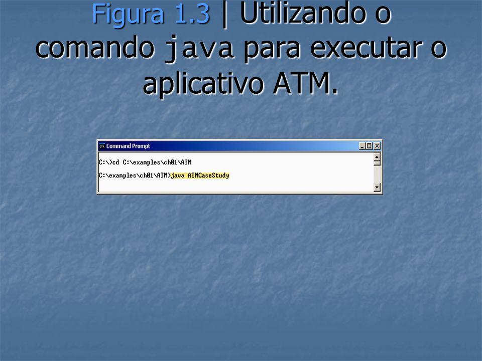Figura 1.3 | Utilizando o comando java para executar o aplicativo ATM.