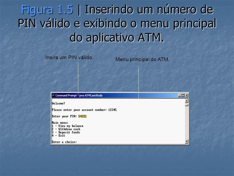 Figura 1.5 | Inserindo um número de PIN válido e exibindo o menu principal do aplicativo ATM.