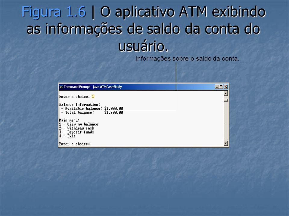 Figura 1.6 | O aplicativo ATM exibindo as informações de saldo da conta do usuário.