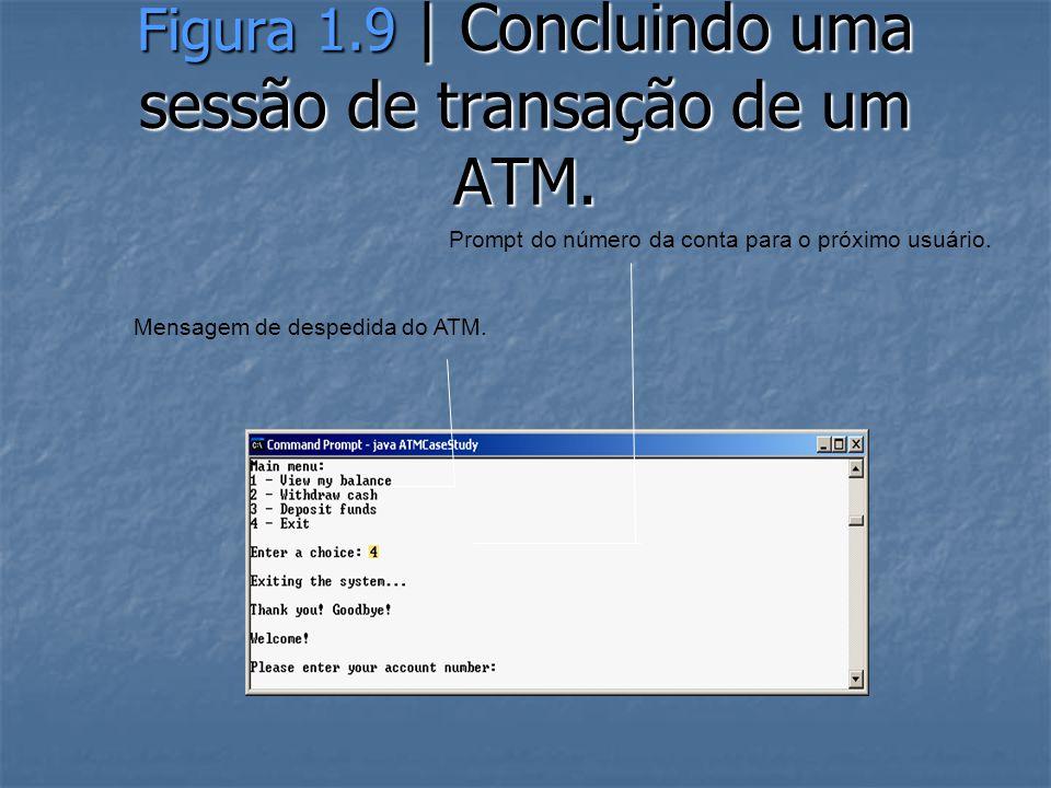 Figura 1.9 | Concluindo uma sessão de transação de um ATM.