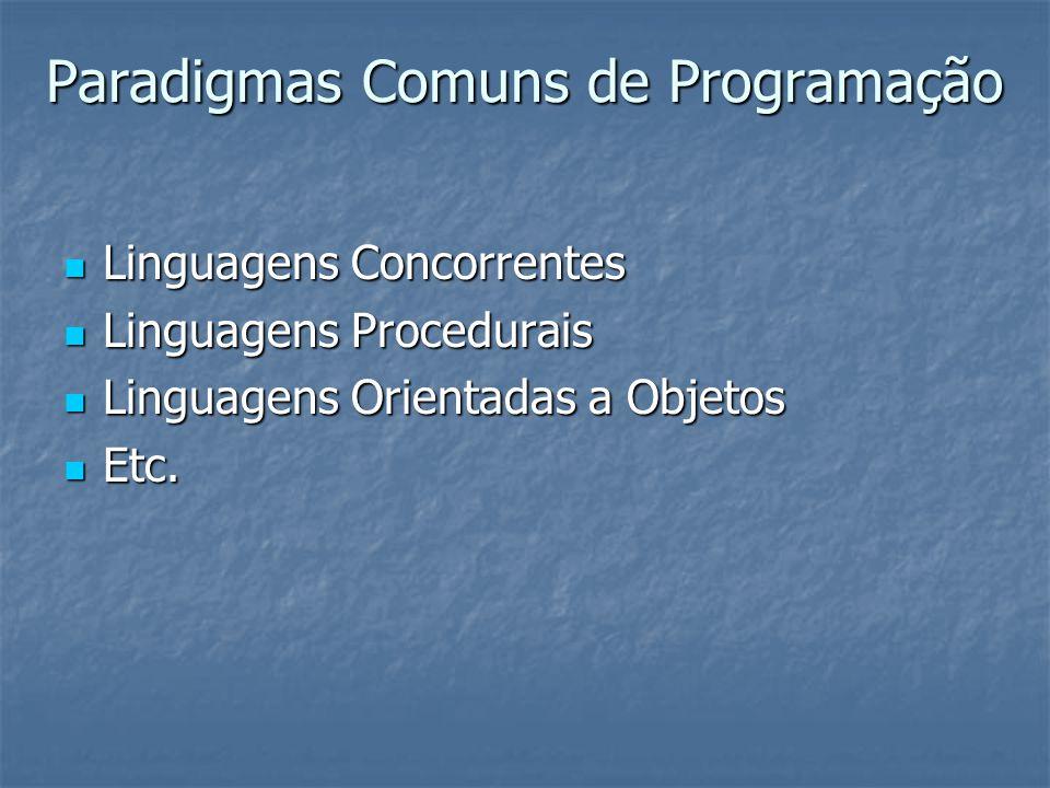 Paradigmas Comuns de Programação Linguagens Concorrentes Linguagens Concorrentes Linguagens Procedurais Linguagens Procedurais Linguagens Orientadas a Objetos Linguagens Orientadas a Objetos Etc.