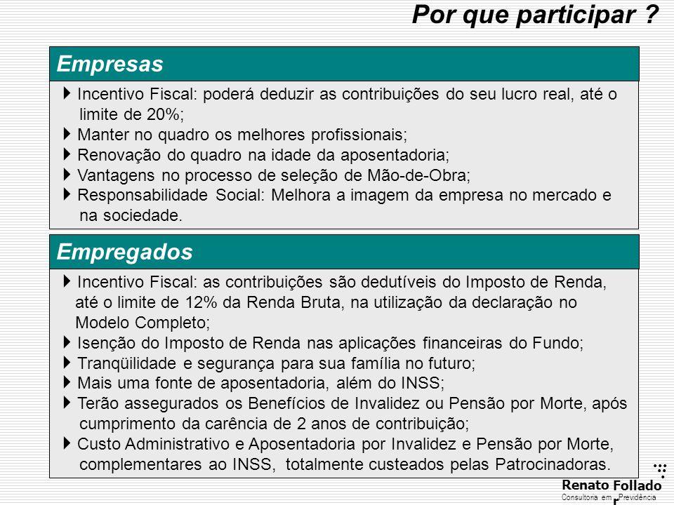 ...... RenatoFollado r Consultoria emPrevidência  Incentivo Fiscal: as contribuições são dedutíveis do Imposto de Renda, até o limite de 12% da Renda