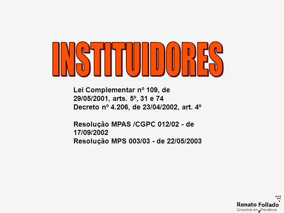 ...... RenatoFollado r Consultoria emPrevidência Lei Complementar nº 109, de 29/05/2001, arts. 5º, 31 e 74 Decreto nº 4.206, de 23/04/2002, art. 4º Re