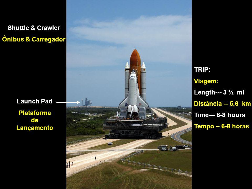 Shuttle & Crawler Ônibus & Carregador Launch Pad Plataforma de Lançamento TRIP: Viagem: Length--- 3 ½ mi Distância -- 5,6 km Time--- 6-8 hours Tempo – 6-8 horas