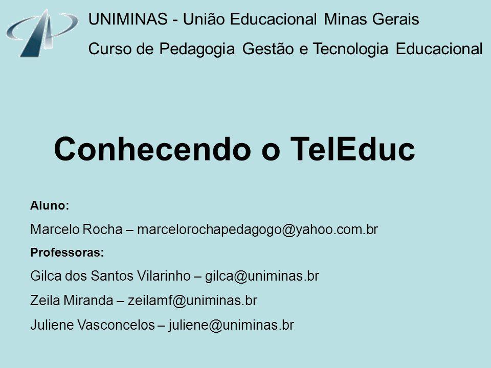 UNIMINAS - União Educacional Minas Gerais Curso de Pedagogia Gestão e Tecnologia Educacional Conhecendo o TelEduc Aluno: Marcelo Rocha – marcelorochap