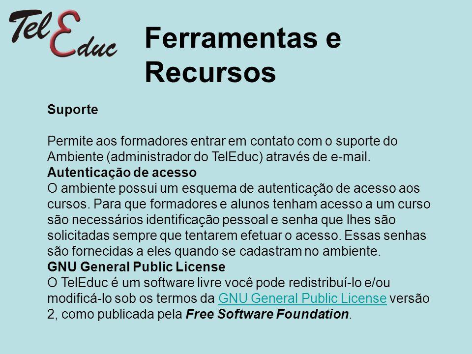 Ferramentas e Recursos Suporte Permite aos formadores entrar em contato com o suporte do Ambiente (administrador do TelEduc) através de e-mail. Autent