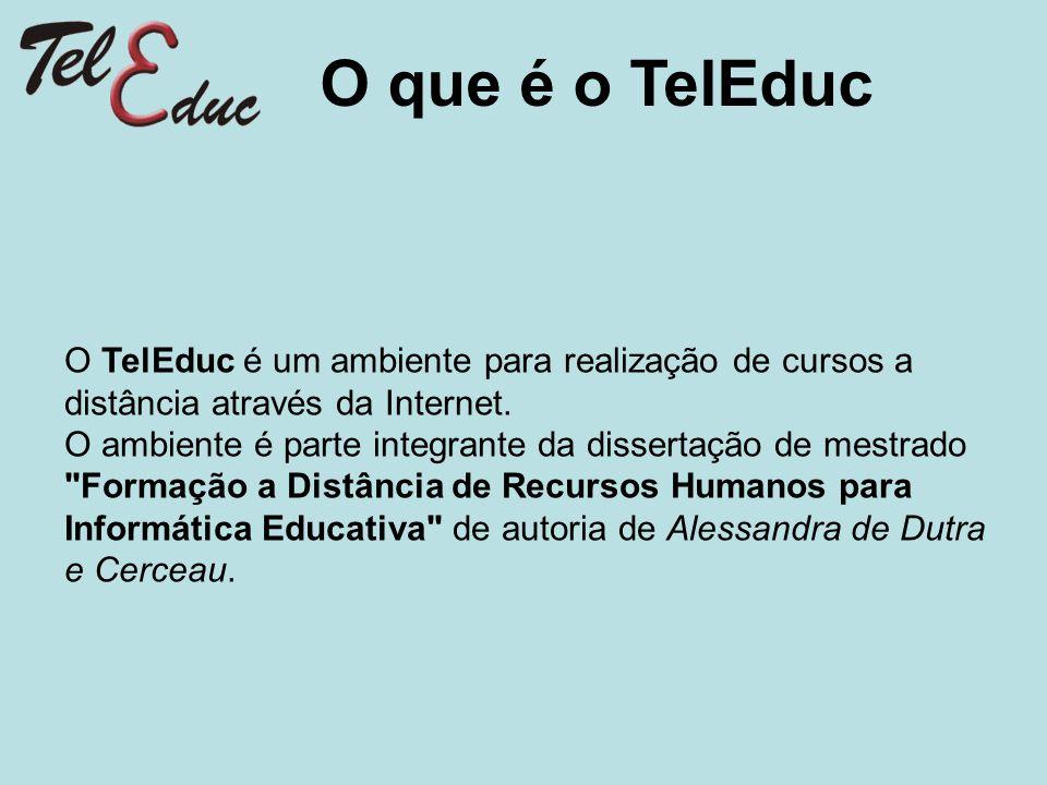 O TelEduc é um ambiente para realização de cursos a distância através da Internet. O ambiente é parte integrante da dissertação de mestrado