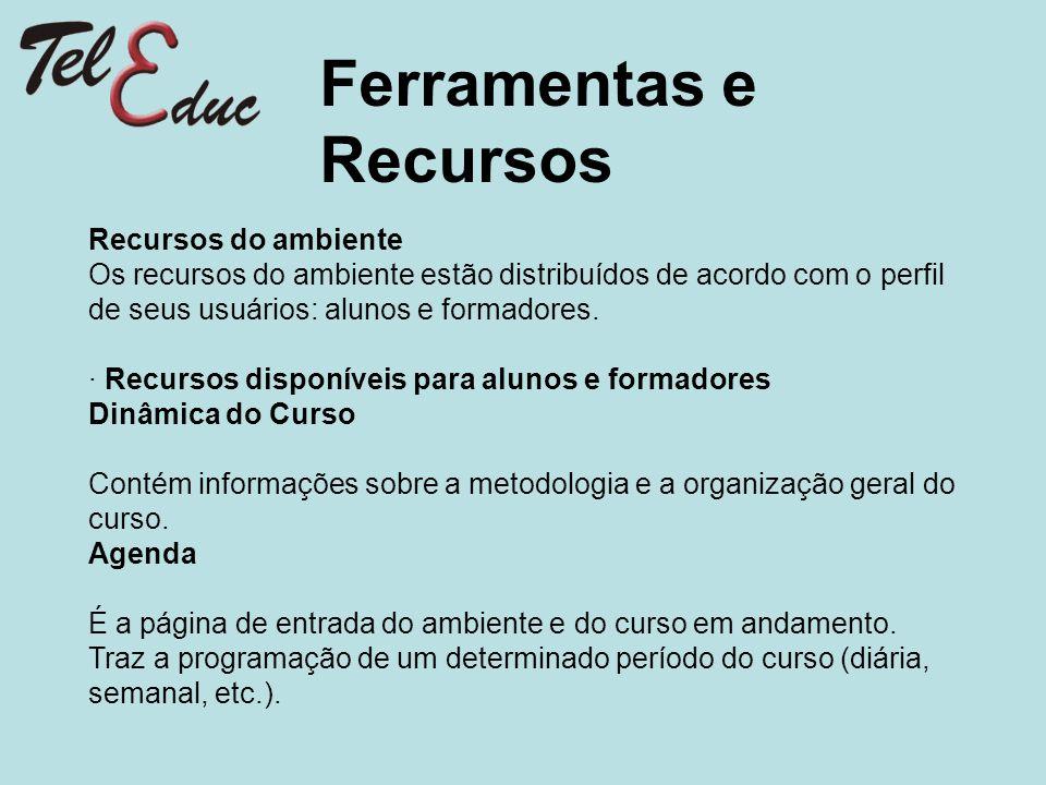 Ferramentas e Recursos Recursos do ambiente Os recursos do ambiente estão distribuídos de acordo com o perfil de seus usuários: alunos e formadores. ·