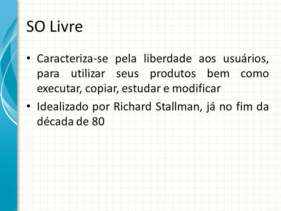 SO Livre Caracteriza-se pela liberdade aos usuários, para utilizar seus produtos bem como executar, copiar, estudar e modificar Idealizado por Richard Stallman, já no fim da década de 80