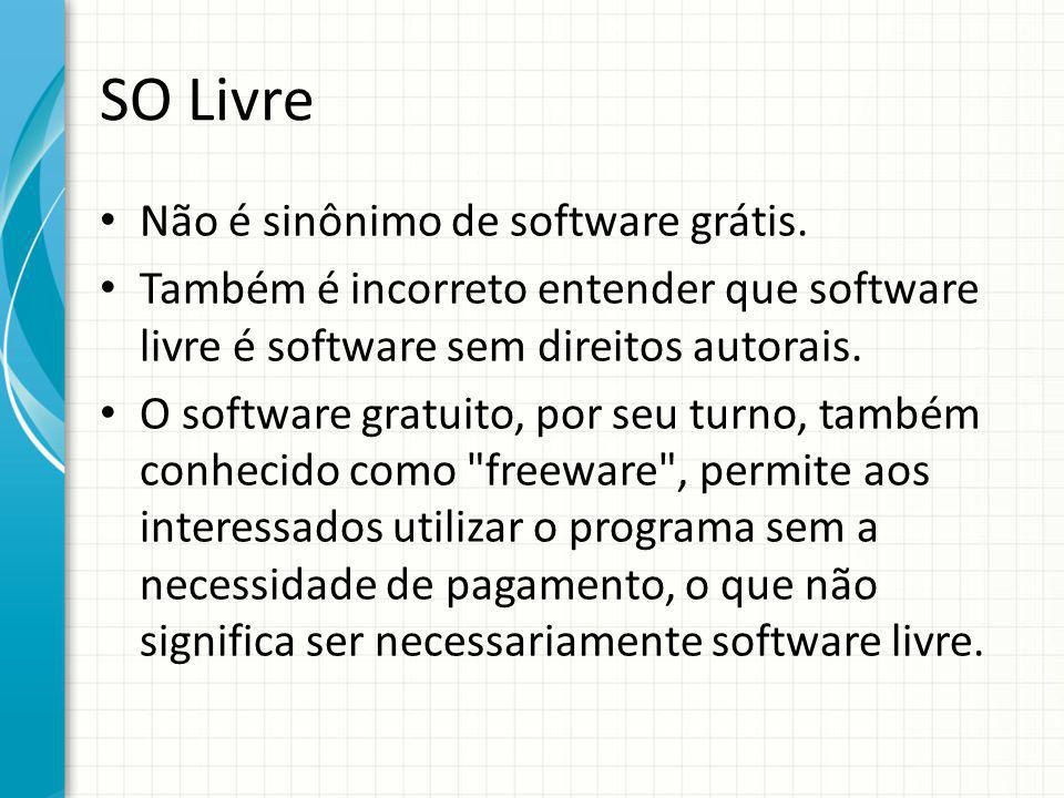 SO Livre Não é sinônimo de software grátis.