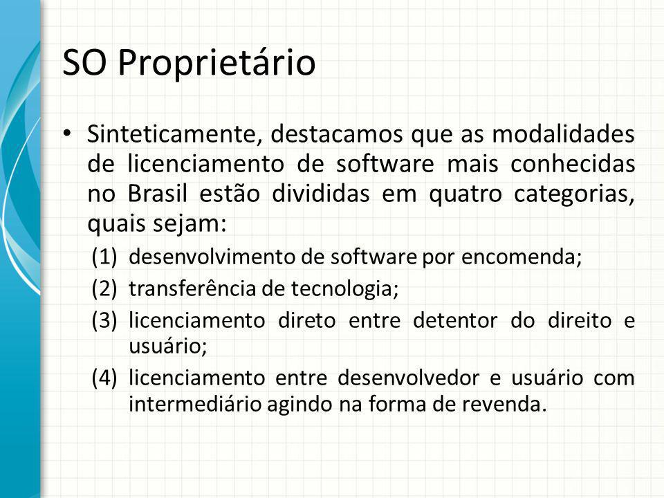 SO Proprietário Sinteticamente, destacamos que as modalidades de licenciamento de software mais conhecidas no Brasil estão divididas em quatro categorias, quais sejam: (1)desenvolvimento de software por encomenda; (2)transferência de tecnologia; (3)licenciamento direto entre detentor do direito e usuário; (4)licenciamento entre desenvolvedor e usuário com intermediário agindo na forma de revenda.