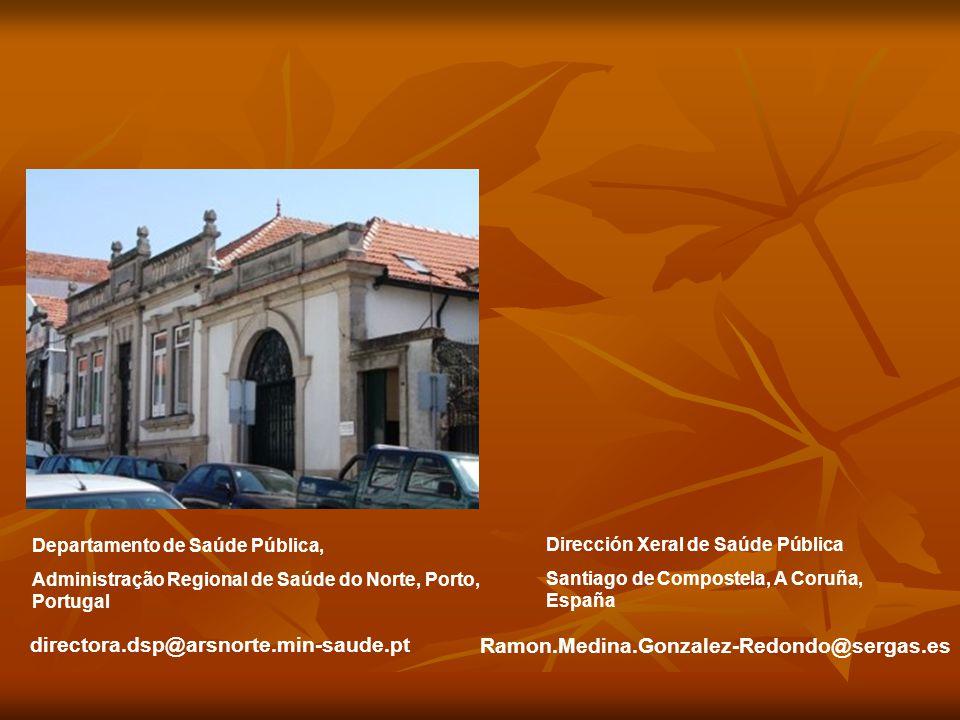 Departamento de Saúde Pública, Administração Regional de Saúde do Norte, Porto, Portugal Dirección Xeral de Saúde Pública Santiago de Compostela, A Coruña, España directora.dsp@arsnorte.min-saude.pt Ramon.Medina.Gonzalez-Redondo@sergas.es