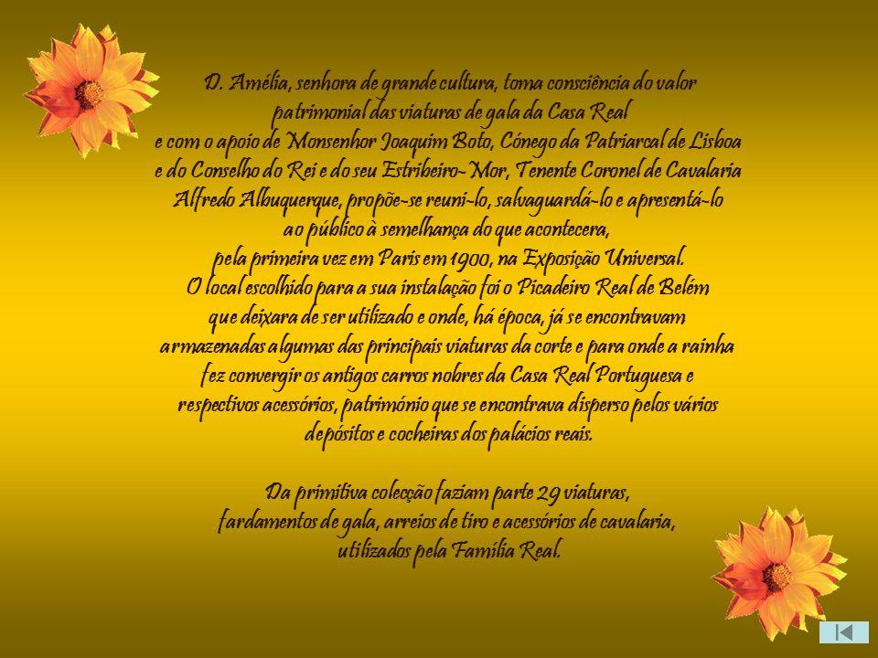 Criado por iniciativa da Rainha D. Amélia de Orleãns e Bragança, mulher do rei D. Carlos I, o Museu dos Coches Reais como então se chamava, foi inaugu