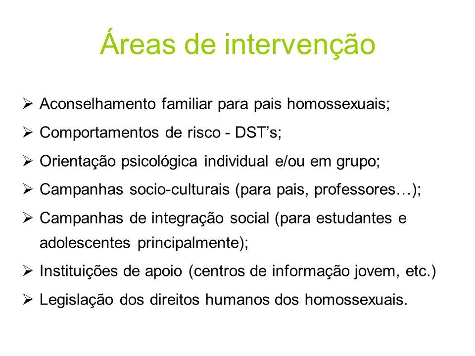 Áreas de intervenção  Aconselhamento familiar para pais homossexuais;  Comportamentos de risco - DST's;  Orientação psicológica individual e/ou em
