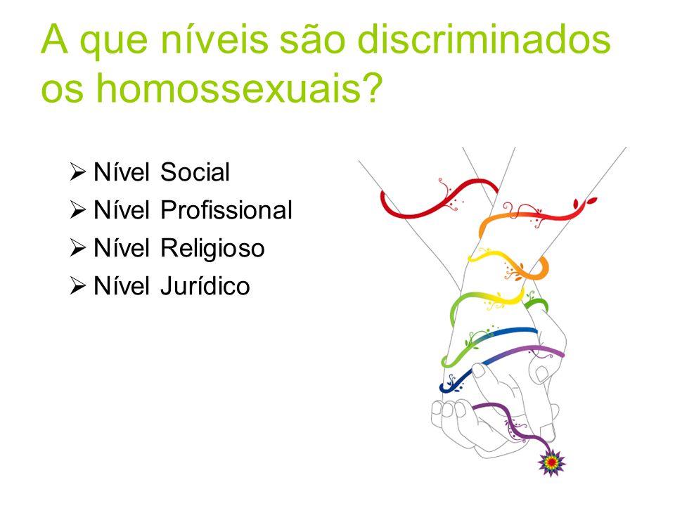 A que níveis são discriminados os homossexuais?  Nível Social  Nível Profissional  Nível Religioso  Nível Jurídico