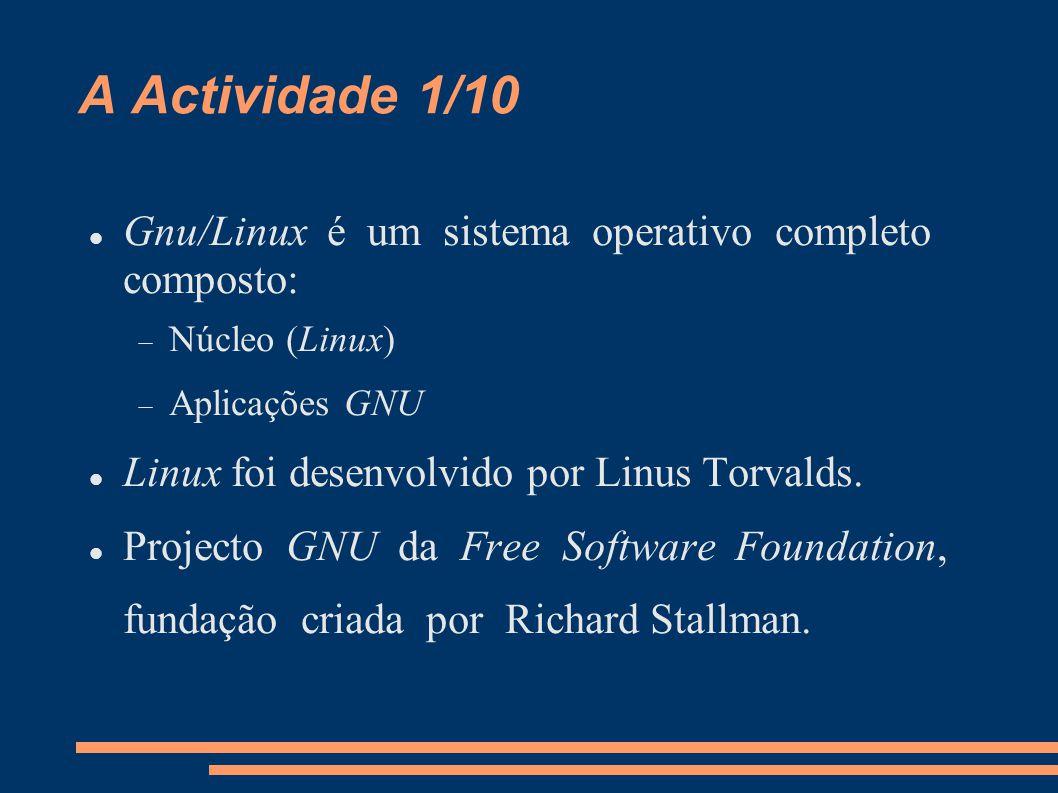 A Actividade 2/10 Material  Uma distro Existem muitas distros para as mais variadas utilizações.