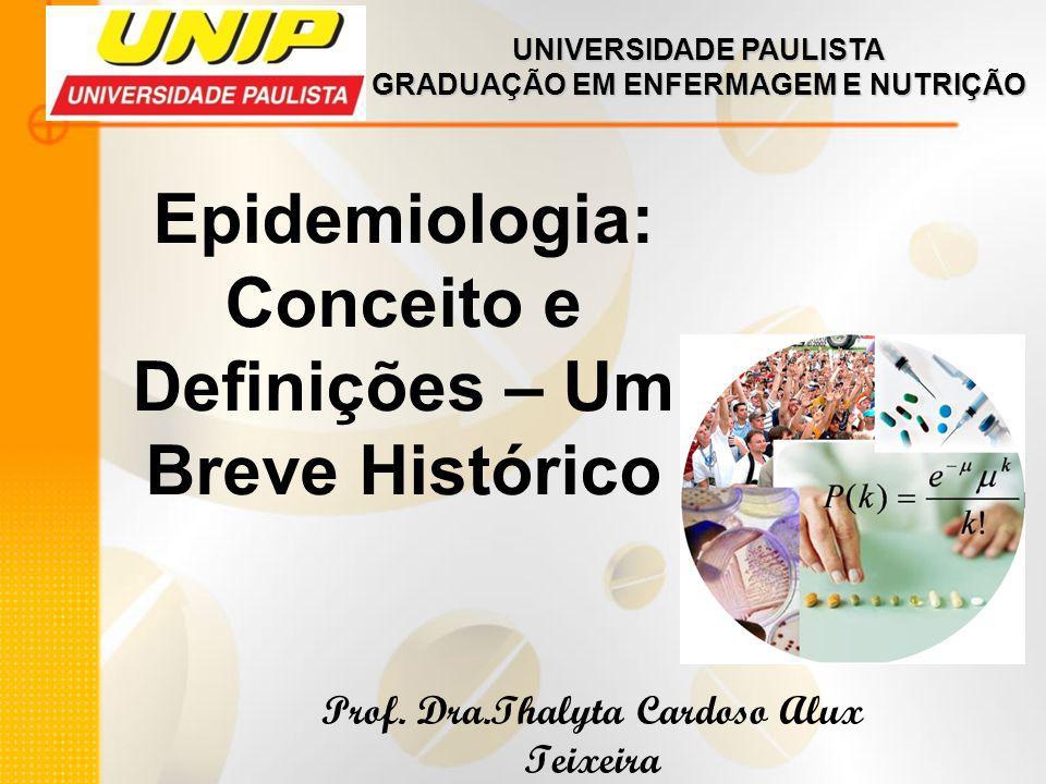 Epidemiologia: Conceito e Definições – Um Breve Histórico Prof. Dra.Thalyta Cardoso Alux Teixeira UNIVERSIDADE PAULISTA GRADUAÇÃO EM ENFERMAGEM E NUTR