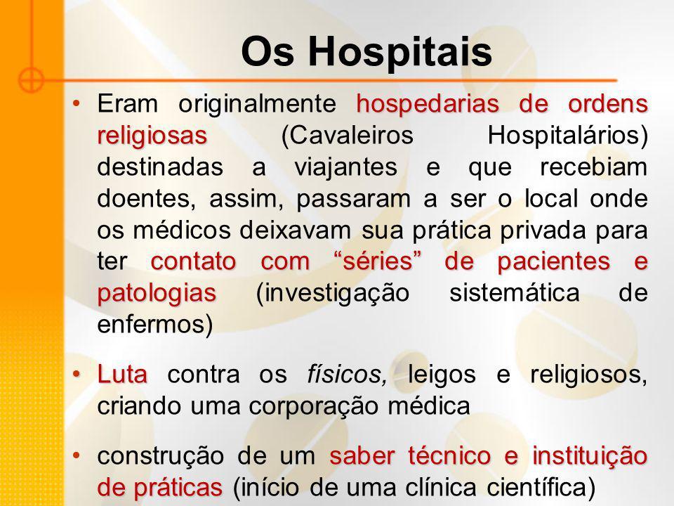 """Os Hospitais hospedarias de ordens religiosas contato com """"séries"""" de pacientes e patologiasEram originalmente hospedarias de ordens religiosas (Caval"""