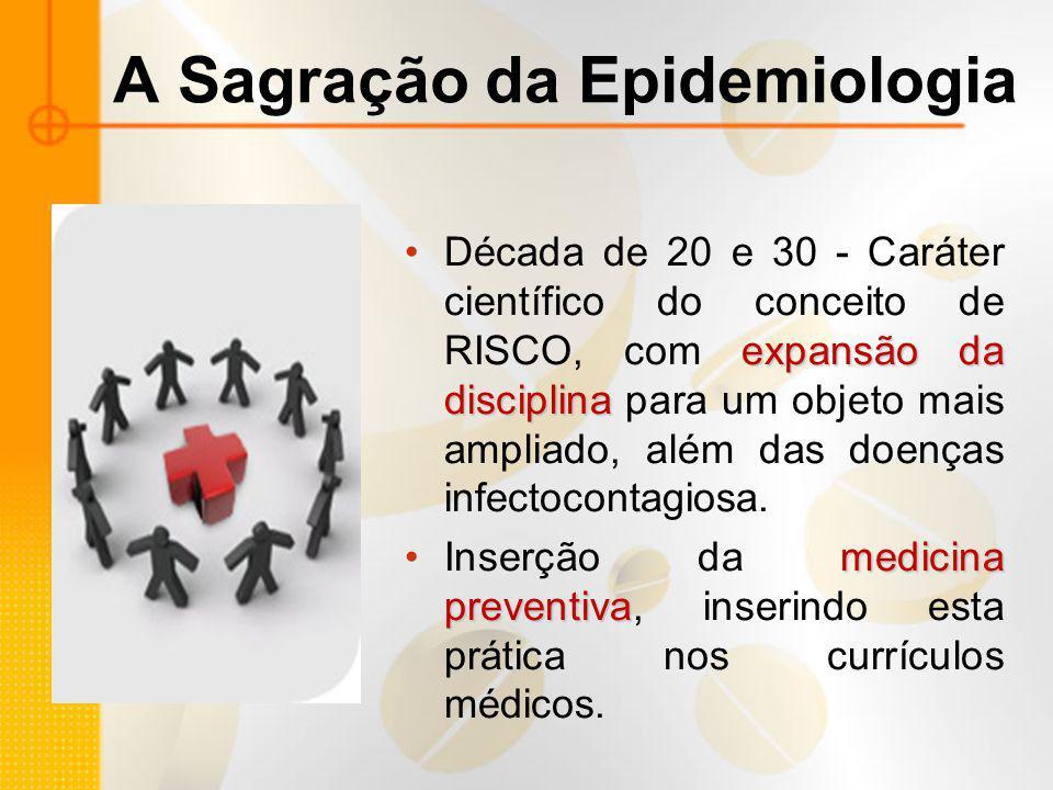 A Sagração da Epidemiologia expansão da disciplinaDécada de 20 e 30 - Caráter científico do conceito de RISCO, com expansão da disciplina para um obje