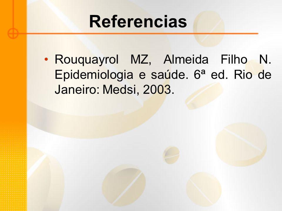 Referencias Rouquayrol MZ, Almeida Filho N. Epidemiologia e saúde. 6ª ed. Rio de Janeiro: Medsi, 2003.