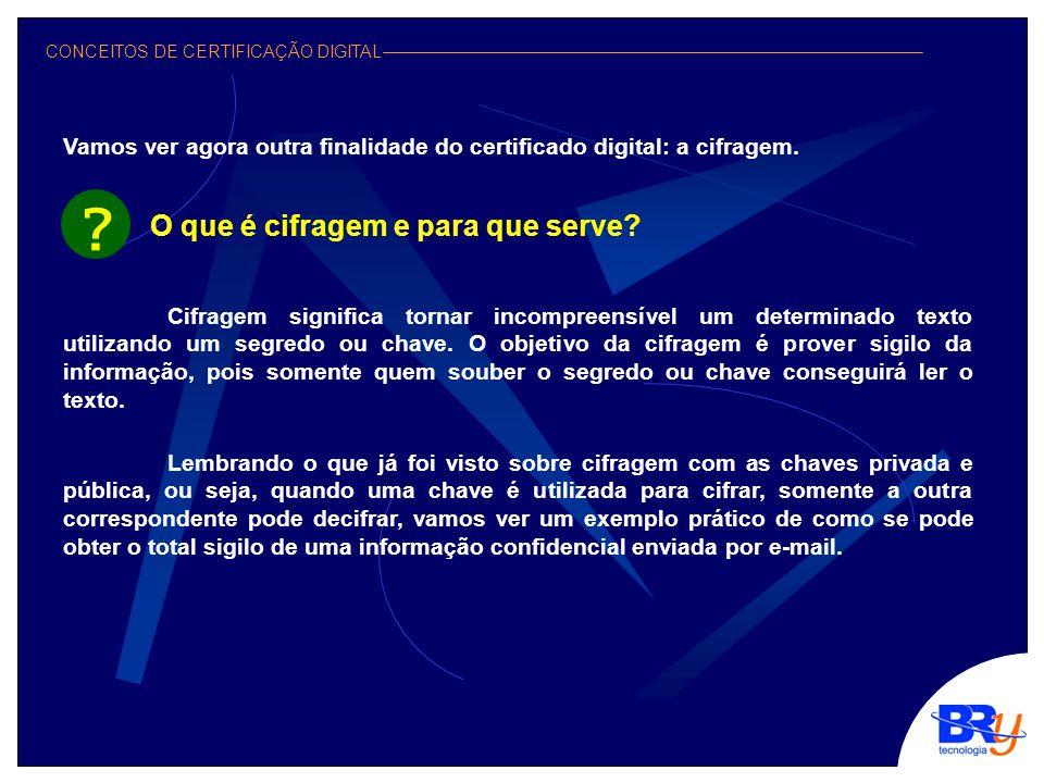 CONCEITOS DE CERTIFICAÇÃO DIGITAL Vamos ver agora outra finalidade do certificado digital: a cifragem.
