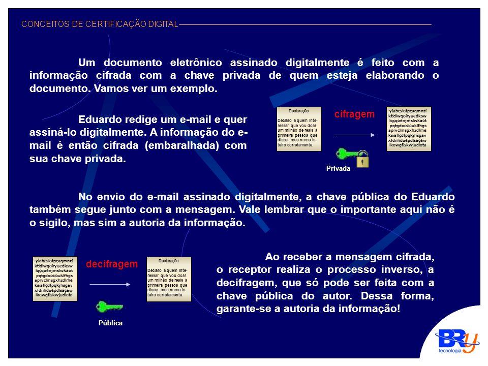 CONCEITOS DE CERTIFICAÇÃO DIGITAL Um documento eletrônico assinado digitalmente é feito com a informação cifrada com a chave privada de quem esteja elaborando o documento.