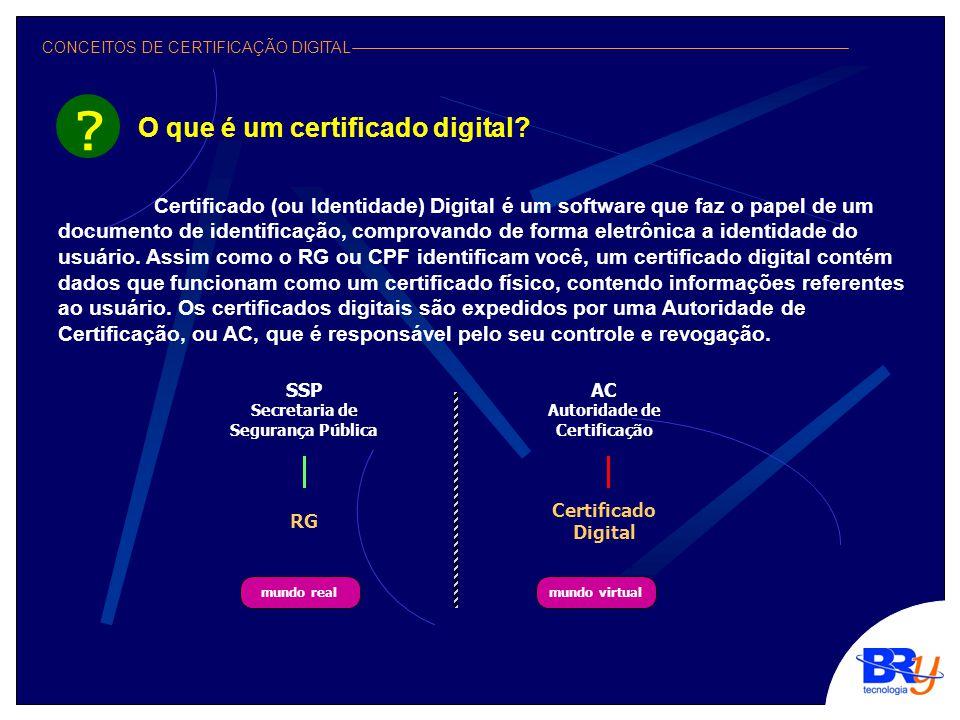 CONCEITOS DE CERTIFICAÇÃO DIGITAL Certificado (ou Identidade) Digital é um software que faz o papel de um documento de identificação, comprovando de forma eletrônica a identidade do usuário.