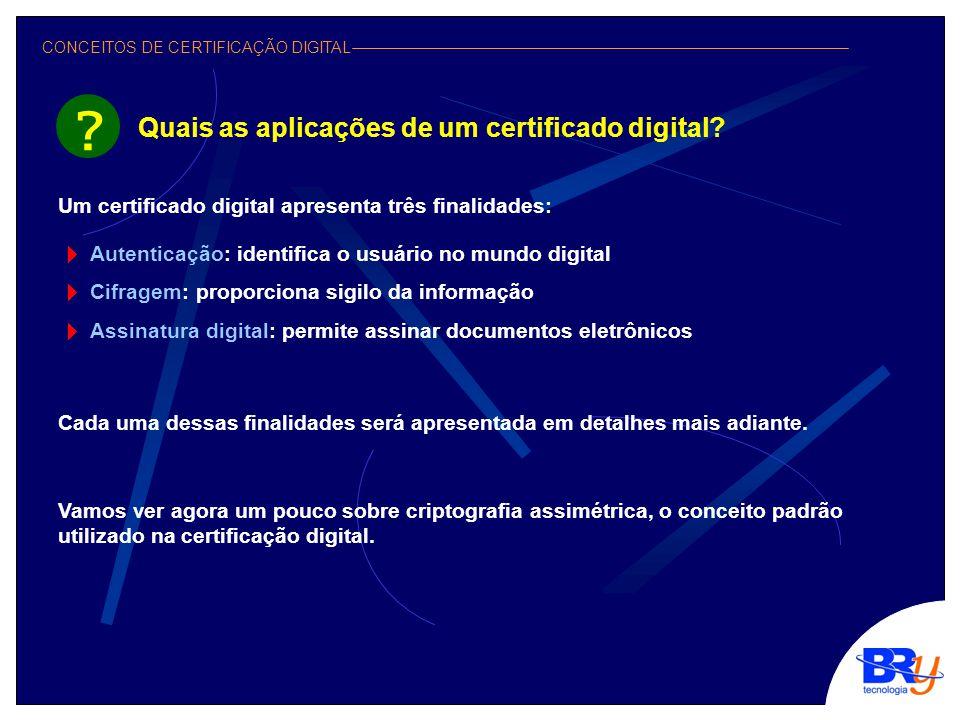 CONCEITOS DE CERTIFICAÇÃO DIGITAL Você acabou de conhecer um pouco mais do que vem a ser a certificação digital e seus benefícios.