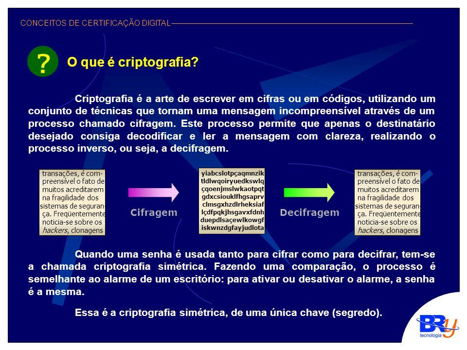 CONCEITOS DE CERTIFICAÇÃO DIGITAL A chamada criptografia assimétrica, ou de chaves públicas, difere da criptografia simétrica por possuir dois segredos, ou duas chaves, conhecidas como chave privada e chave pública.