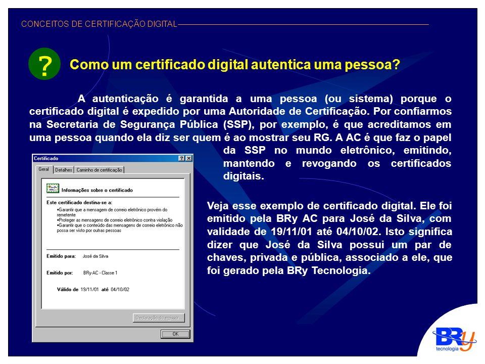 CONCEITOS DE CERTIFICAÇÃO DIGITAL Como um certificado digital autentica uma pessoa.