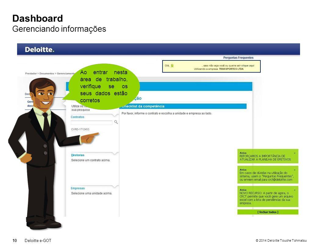 © 2014 Deloitte Touche Tohmatsu Dashboard Gerenciando informações 10 Deloitte e-GOT Ao entrar nesta área de trabalho, verifique se os seus dados estão corretos