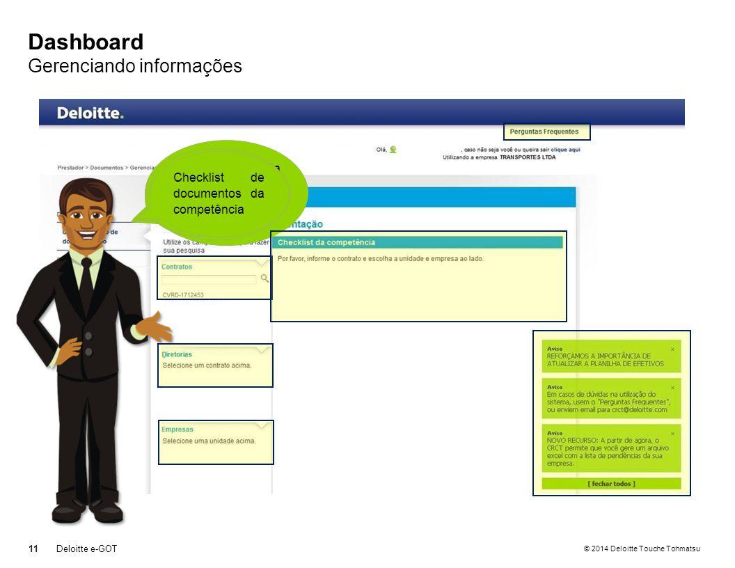 © 2014 Deloitte Touche Tohmatsu Dashboard Gerenciando informações 11 Deloitte e-GOT Observe que nesta área de trabalho existem vários recursos Opção de ajuda com perguntas frequentes Filtros para consulta Quadro de avisos Checklist de documentos da competência