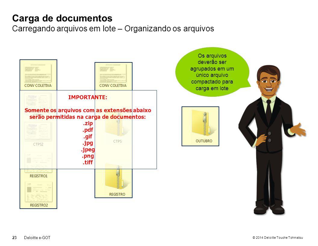 © 2014 Deloitte Touche Tohmatsu Carga de documentos Carregando arquivos em lote – Organizando os arquivos 23Deloitte e-GOT Separe todos os arquivos que deseja enviar em um diretório Agrupe os arquivos compactando por tipo de documento Os arquivos deverão ser agrupados em um único arquivo compactado para carga em lote IMPORTANTE: Somente os arquivos com as extensões abaixo serão permitidas na carga de documentos:.zip.pdf.gif.jpg.jpeg.png.tiff