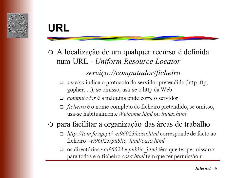 Internet - 7 HTML m HyperText Markup Language q é uma linguagem de estruturação de documentos, incluindo recursos multimédia, e de especificação de ligações, com suporte para outros serviços, como o ftp e o gopher q é um caso particular da linguagem SGML (Standard General Markup Language) utilizada em processamento de texto q HTML é definida por um DTD (Document Type Definition) SGML q está na versão 4.0 m a concorrência entre navegadores origina o aparecimento de extensões à norma q podem amarrar a um navegador e dificultar o acesso através de outros navegadores q por vezes, as mais usadas acabam por ser incorporadas na versão seguinte da norma