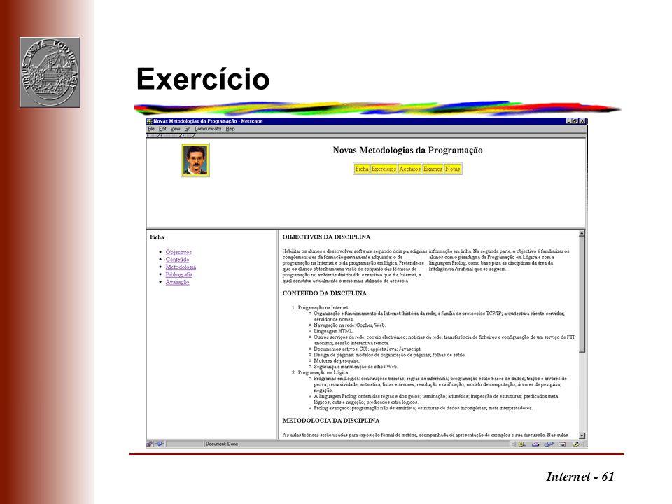 Internet - 61 Exercício